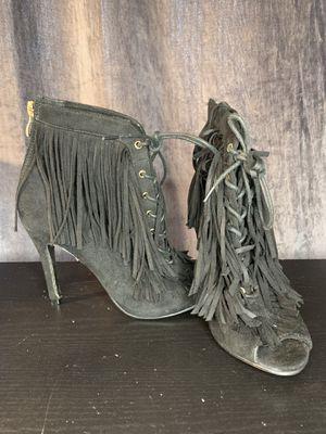 Black fringe lace up heels for Sale in Ceres, CA