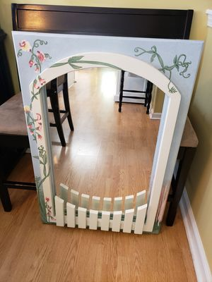 Wall mirror with fence that could hold books for Sale in Suwanee, GA