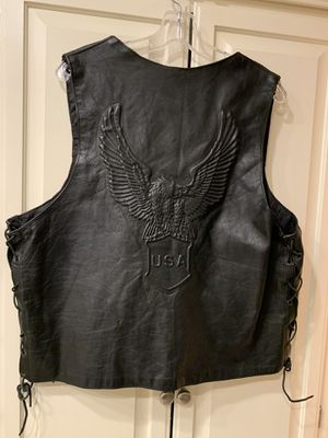 Motorcycle leather vest Never worn. From TripThreat Choppers still has the tags on it. Size XL. Good strong leather. W ith for Sale in Laguna Hills, CA