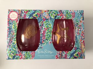 New ✨ Lilly Pulitzer Stemless Wine Glasses for Sale in Boston, MA