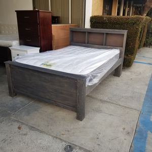 FULL BED FRAME WITH MATTRESS PINE WOOD for Sale in Long Beach, CA