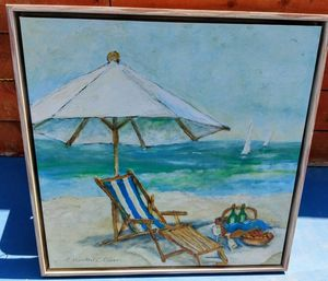 Beach painting 3 by 4 wood frame Make me an offer. ( Not free ) for Sale in Downey, CA