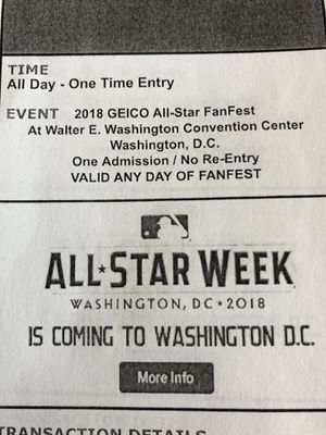 4 one day tickets to MLB all star fan fest for Sale in Silver Spring, MD