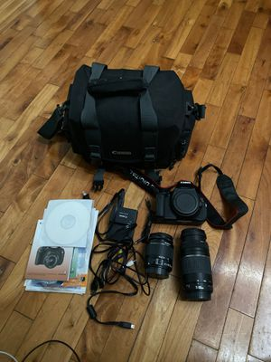 Canon rebel t3i eos 600D with 2 lens charger bag and all acc for Sale in Merepoint, ME