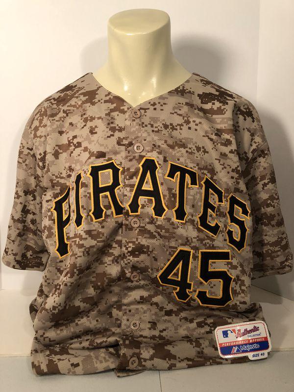 Gerrit Cole signed jersey. Pittsburgh Pirates 'Camo' Jersey. PSA COA