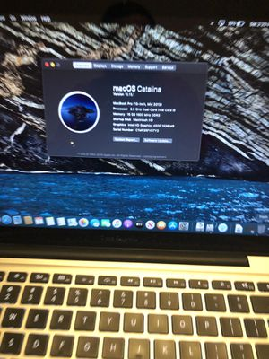 13 inches MacBook Pro 2012 16 GB memory ram 1 TB have. I5 processor. Has Two systems Windows 10 pro and MacOS Catalina. 10.15.1 for Sale in Boston, MA