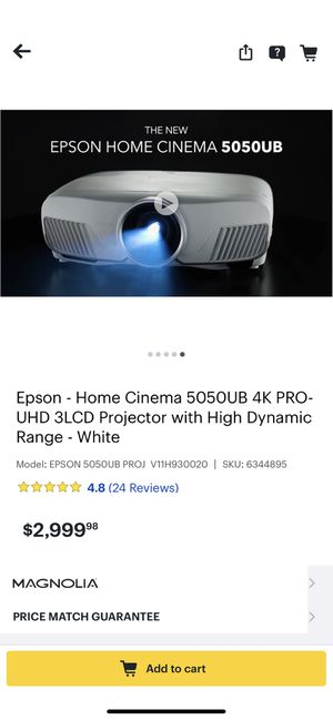Epson 5050 UB 4K Pro projector . Bought 5 months back . Didn't use much. 650$ reduced from original price of 3250$ with tax for Sale in Cedar Rapids, IA