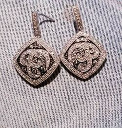 diamond earrings 925 silver, with gray diamonds for Sale in Vernal,  UT