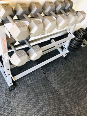 Hex Dumbbells & 3 Tier Weight Rack Home gym for Sale in Corona, CA