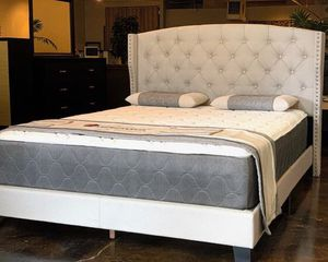 Queen size khaki bed with mattress and free delivery $339 for Sale in Austin, TX