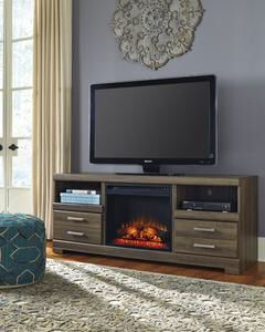 Frantin Brown TV Stand with Fireplace Insert | W129-68 for Sale in Austin, TX