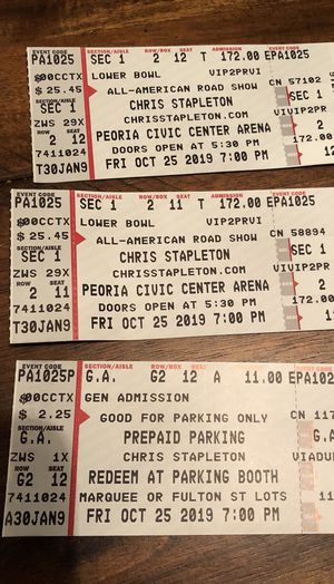 Chris Stapleton SOLD OUT 10/25 Peoria Civic Center w/parking and VIP for Sale in Naperville, IL