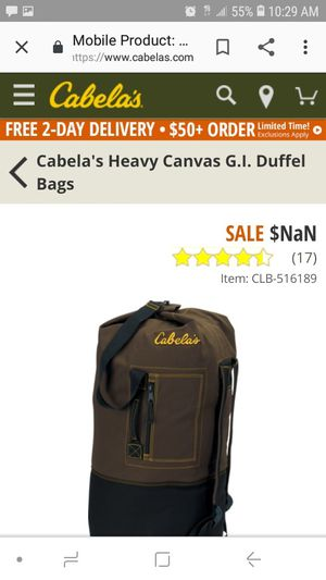 Cabela's XL GI duffle bag in great condition no tips no holes for Sale in Rialto, CA