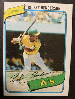 1980 Rickey Henderson Topps Rookie Baseball Card #482 Oakland As for Sale in Brea, CA