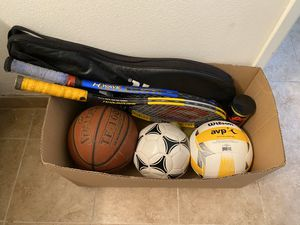 Sports enthusiasts- AVP volleyball, basketball, soccer ball, 2 tennis rackets with tennis balls for Sale in Los Angeles, CA