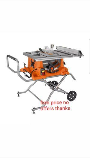 """Ridgid R4513RIDGID 15 Amp 10"""" Heavy Duty Portable Table Saw w/ Stand for Sale in Upper Marlboro, MD"""