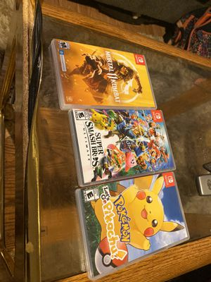 Pokémon let's go pikachu, Super smash bro's ultimate , and mortal kombat 11 ( Nintendo switch ) for Sale in Chevy Chase, MD