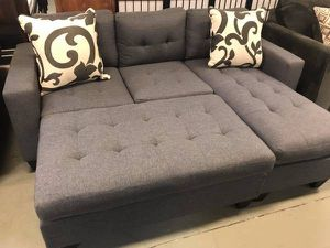Brand New Grey Linen Sectional Sofa Couch + Ottoman (Free Accent Pillows) for Sale in Chevy Chase, MD