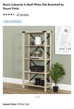 Rustic Industrial 4-Shelf White Oak Bookshelf for Sale in Prineville,  OR