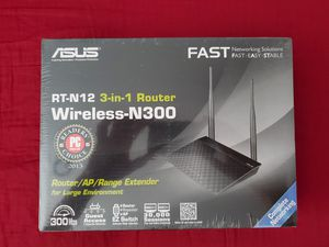 ASUS RT-N12 N300 WiFi Router 2T2R MIMO Technology, 4K HD Video Streaming, VoIP, Up to 300 Mbps, Black BRAND NEW AND FACTORY SEALED. for Sale in Covina, CA