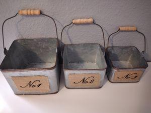 Farmhouse galvanized pails for Sale in Oro Valley, AZ