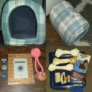 Dog stuff lot: house, toys, tags, bones, antlers, photo frame for Sale in Marietta, GA