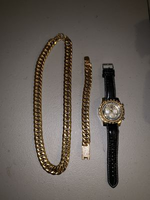 Gold Cuban Link Chain, Bracelet and Watch for Sale in Las Vegas, NV