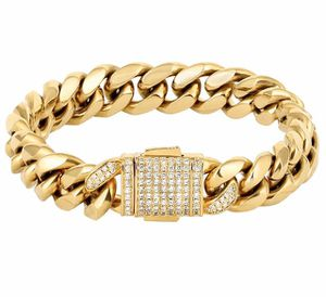 Mens Cuban Link Bracelet, 12mm Miami Iced Out Cuban Curb Link, 18K Gold Durable Urban Street-wear Hip Hop Bracelet for Men for Sale in Chino, CA