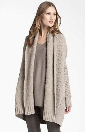 MSRP $445 Vince Sweater (Knit Cardigan Sweater Shawl) in Oatmeal Tan Beige Color — Oversized Sweater by Vince. | Size Extra Small XS | With Wool | fo for Sale in Canton, MI
