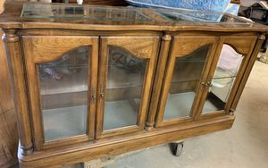 Long curio display console cabinet for Sale in Freedom, PA