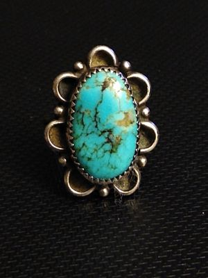 Wow! Stunning natural turquoise Native American ring (sterling silver size 8.25) for Sale in Altamonte Springs, FL