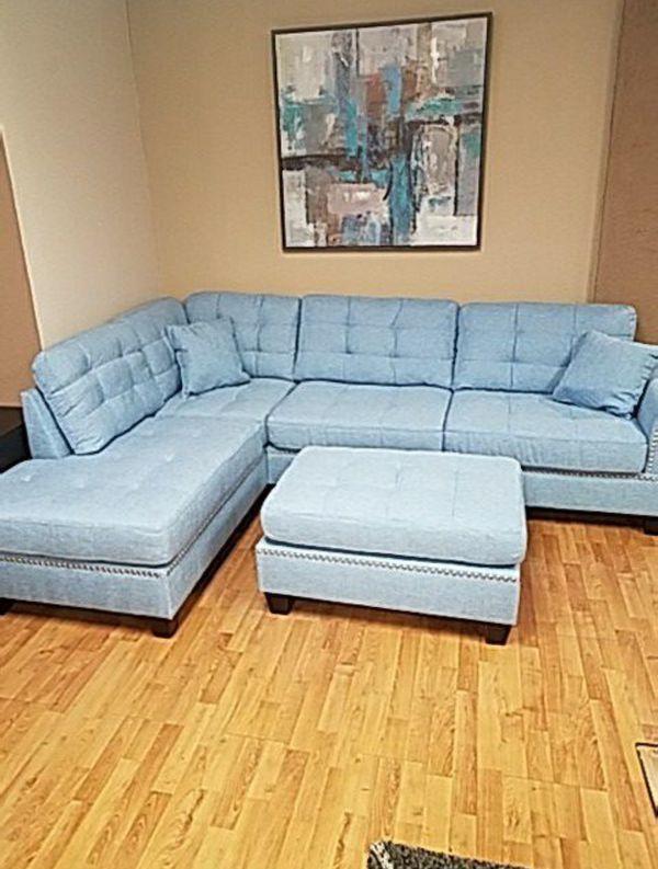 Brand New Light Blue Linen Sectional Sofa Couch + Ottoman
