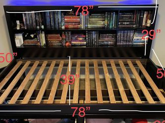 Twin size bookshelf bed frame with 2 front under bed drawers and 2 sides under storage for Sale in Port Orchard,  WA