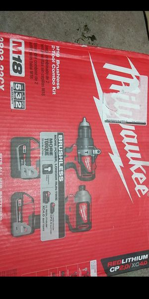Milwaukee brushless,18 volt, impact and hammer drill combo ,two batteries bag and charger, new pick up only for Sale in Phoenix, AZ