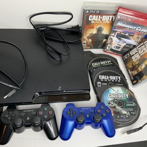 PlayStation 3 slim (PS3) Bundle, TESTED AND WORKING, playstation, 2 wireless DualShock controllers, 6 games, power cords & charger for Sale in Gresham, OR