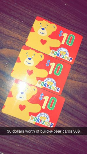 3 Build-A-Bear workshop cards for Sale in Morgantown, WV