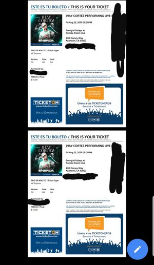 Jhay concert tickets! Reggaeton concert. for Sale in Montclair, CA