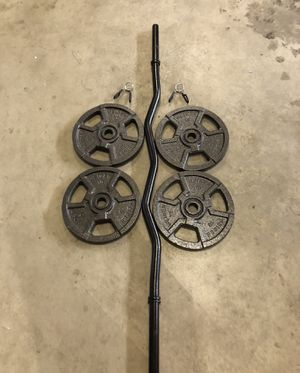 Curl bar and weight set (4 10lb plates, total 40lbs) for Sale in Renton, WA
