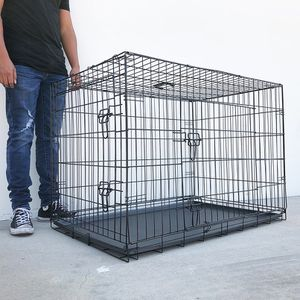 "(NEW) $55 Folding 42"" Dog Cage 2-Door Pet Crate Kennel w/ Tray 42""x27""x30"" for Sale in El Monte, CA"