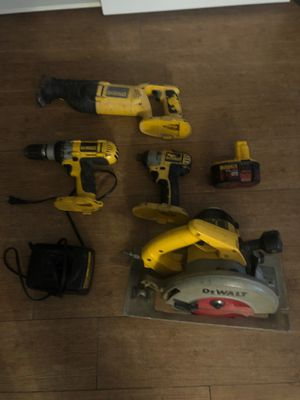 Dewalt tools (only one battery 14.4 v the impact drill and saw saw use 18 v battery, the circular saw works with compressor for Sale in NEW CARROLLTN, MD