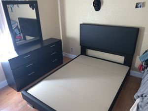 Brand new black 3 piece queen bedroom set FREE DELIVERY and installation. Bed frame mirror and dresser. White brown full twin king for Sale in Davie, FL