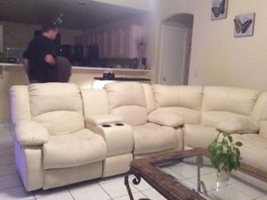 Faux leather sectional with 4 recliners. for Sale in Glendale, AZ