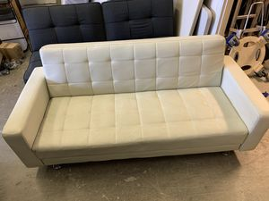 White Leather Futon for Sale in Maywood, NJ