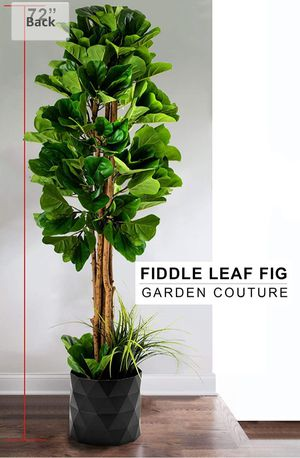 """GARDEN COUTURE Deluxe 72"""" Premium Fiddle Leaf FIG Artificial Tree + Fiddle Leaf and Tropical Grass Foliage in 10"""" Base + 12"""" Plant Pot Skirt (New) for Sale in Glendale, AZ"""