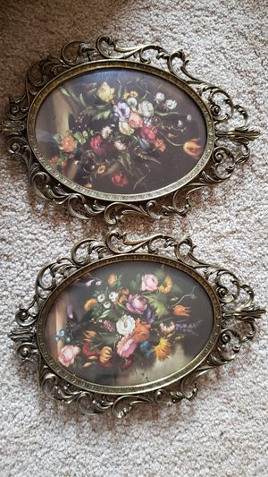 Vintage made in Italy brass oval frames with flower pictures for Sale in Summerfield, NC
