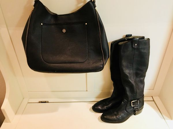 Navy Genuine Leather Boots Size 8 Joan and David with matching Navy Purse (Ann Taylor)
