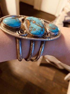 Large sterling silver 3 kingman turquoise cuff for Sale in Gilbert, AZ