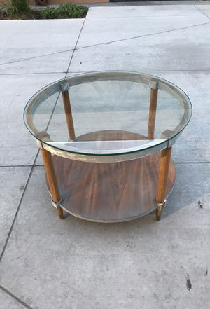 Mid Century Lane Round Wood Glass Coffee Table for Sale in Salt Lake City, UT