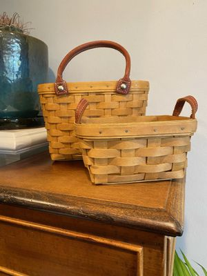 VINTAGE Pair of Longaberger Baskets w Leather Handles for Sale in Los Angeles, CA