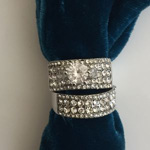 Sterling silver plated sapphire wedding engagement ring band size 7 and 8 available for Sale in Silver Spring, MD